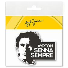 Ayrton Senna Aufkleber Sempre 3D EPOXY schwarz-weiß