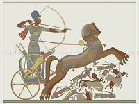 PAINTING ANCIENT EGYPTIAN PHARAOH RAMESES II CHARIOT POSTER PRINT BMP10573
