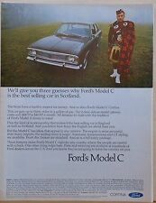 1968 magazine ad for Ford - Model C Cortina and Scotsman in kilt, Scottish fave