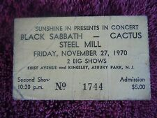 Bruce Springsteen Black Sabbath Authentic Ticket 1970 Sunshine Inn Asbury Park