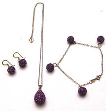 "SET Purple Shamballa 18"" Necklace 7.5"" Bracelet & Earrings 925 Sterling Silver"
