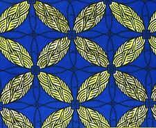 African Fabric 1/2 Yard Cotton Wax Print BLUE BEIGE YELLOW Abstract BTHY