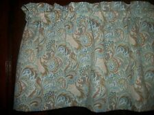 Light Blue Seafoam Paisley Floral Flowers curtain window topper Valance