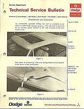 1969 Dodge Charger Sunroof Technical Service Bulletin