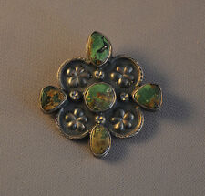 WONDERFUL VINTAGE SILVER MEXICAN PIN 5 GREEN TURQUOISE STONES - PLATA DE JALISCO
