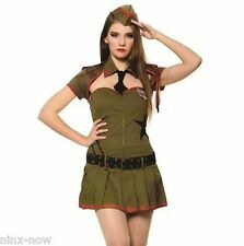 Women's Army Private Pin up Uniform Women's Fancy Dress Costume Size Med/Large