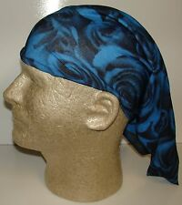 blue black rose roses chemo therapy hair loss head wrap cover turban scarf wig