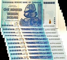 Dealer's Lot 25X 100 Trillion Dollars Zimbabwe Banknote Quarter Bundle US Seller