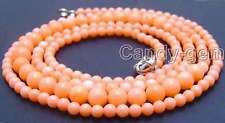 """SALE Long 33"""" Pink 4-7mm Round High quality nature Coral Necklace-nec5749"""