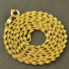 """Classic 9K Yellow Gold Filled Water-Wave Mens/Unisex Chain Necklace,24"""",Z4736"""
