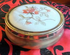 Vintage Gold tone needlepoint lidded dressing table footed box flowers embroider