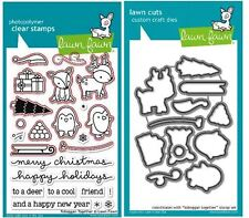 Lawn Fawn Photopolymer Clear Stamp & Die Combo ~ TOBOGGAN TOGETHER ~LF976, LF977