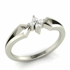 Real Sterling Silver 0.04 ct 100% Certified Natural Diamond Promise Ring Sizable