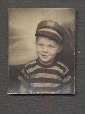 Vintage Photo Cute Boy Wearing Service Hat Photobooth 671791