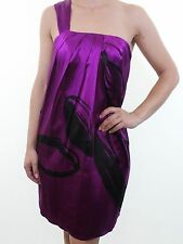 BELLE BY OASIS purple 100% silk one shoulder cocktail party dress size 10