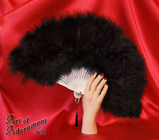 Gothic Burlesque BLACK WHITE MARABOU FEATHER FOLDING FAN Halloween Costume F12