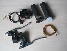 Mini Dirt Bike Throttle Handle Grips/YellowThrottle Cable/Switch/Brake Lever Kit