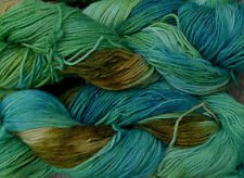 Pure wool yarn sport weight, hand dyed teal, green and olive,  640 yards,  7 oz.