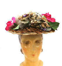Lovely Antique Ladies Hat Bonnet  1870s Straw Brimmed Hat With Silk Flowers
