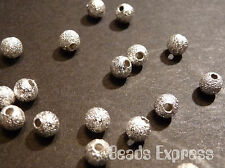 50pc 4mm Premium Silver Plated Round Copper Stardust Sand Beads (M002)