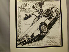 1981 De Lorean  Auto Pen Ink Hand Drawn  Poster Automotive Museum