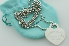 """Tiffany & Co. Sterling Silver XL Large Return to Tiffany Heart Tag & Chain - 34"""""""