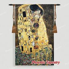"""89x139 Gobelin Wandbehang Wandteppich """"Der Kuss"""" (goldene Version) Gustav Klimt"""