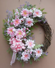 "20"" Pink Purple Floral Door Grapevine Wreath Handmade"