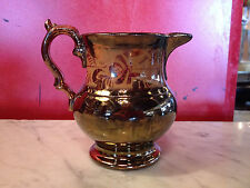 Vintage Antique English Copper Lusterware Jug w/ Floral Foliage Decoration