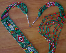 "NICE PATTERN Handmade Beaded Navajo Rug Necklace ""Red Coral"" 8 Strands Ms. John"