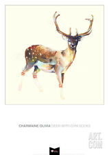 Deer wearing Gym Socks Art Poster Print by Charmaine Olivia, 19.5x27.5