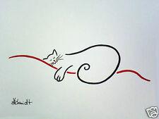 H.Schmidt katze*Carpe Diem*cat chat strichzeichnung katzenaugen deko Aquarell