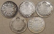 Canada 1916,17,20,29,+30 Ten Cents Low-Mid Grades as Pictured