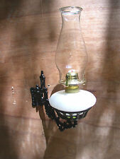 Beautiful Antique Wall Mount Oil Lamp Holder (sconce) Milk Glass Font- Oil Lamp