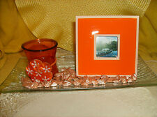 Orange Complete Centerpiece Set Glass Tray/Votive Candle Holder/Frame & Stones