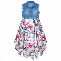 GIRLS CHILDRENS DRESS SUMMER PARTY DENIM BUTTERFLY AGE 3 4 5 6 7 8 9 10 11 YEARS
