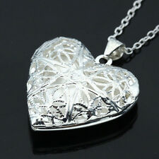 Elegant Woman Silver Picture Locket Hollow Heart Pendant Chain Necklace Jewelry