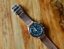 Horween Vintage Brown Horsehide Leather Watch Strap Band 20mm for Speedmaster