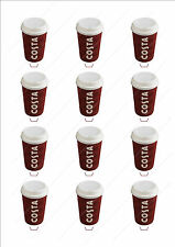 Novelty Costa Coffee Cup Stand Up Fairy Cake Cupcake Toppers Edible Birthday