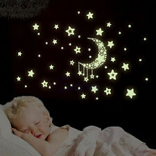 Glow In The Dark Moon and Stars Wall Sticker Baby Bedroom Home Decor 24.5*21cm