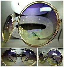 EXAGGERATED VINTAGE Style SUN GLASSES Large Round Gold Frame Purple Yellow Lens