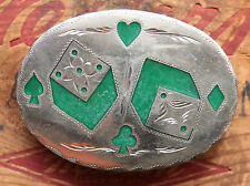 Vintage R&B Hand Made Dice Card Suits Inlay Western Belt Buckle Gamble Casino