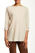 new Vince Rib Stitch Trim Khaki Tan 100% Cashmere Boatneck Sweater S; NWT$295