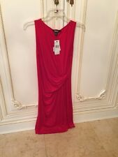 Cute! $$ DKNY Cherry Red Faux Wrap Dress. Sz P. NWT. $195