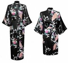 Women's Plain Silk Satin Robes Bridal Wedding Bridesmaid Bride Gown Kimono Robe+
