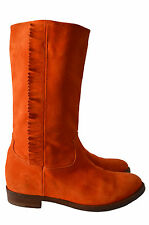 RALPH LAUREN COLLECTION PURPLE LABEL ORANGE SUEDE FRINGE BOOTS - 38/UK 4.5/US 7B
