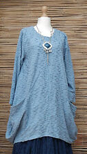 LAGENLOOK OVERSIZE*MB GERMANY*QUIRKY WAFFLE EFFECT TUNIC*PALE BLUE*SIZE 2 XL-XXL