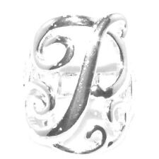 Silver Initial P  Lace Monogram Script Personalized Jewelry Stretch Ring Sz6 - 8