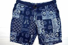 NWT POLO RALPH LAUREN MENS 38 STRAIGHT FIT BELTED SHORTS PATCHWORK TIE DYE BLUE