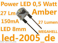 5 x Power LED 8mm 0.5 Watt 150mA Amber,Orange